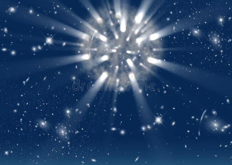 Ruimte achtergrond met heldere sterren en stralen stock afbeeldingen