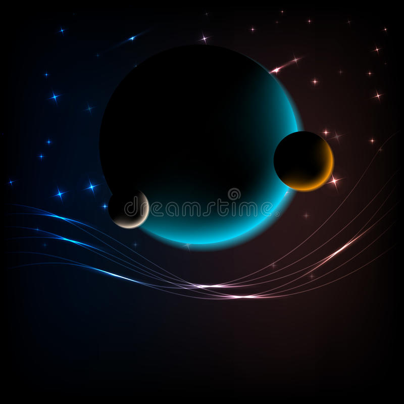 Ruimte Achtergrond met 3 planeten en ruimte voor tekst stock illustratie