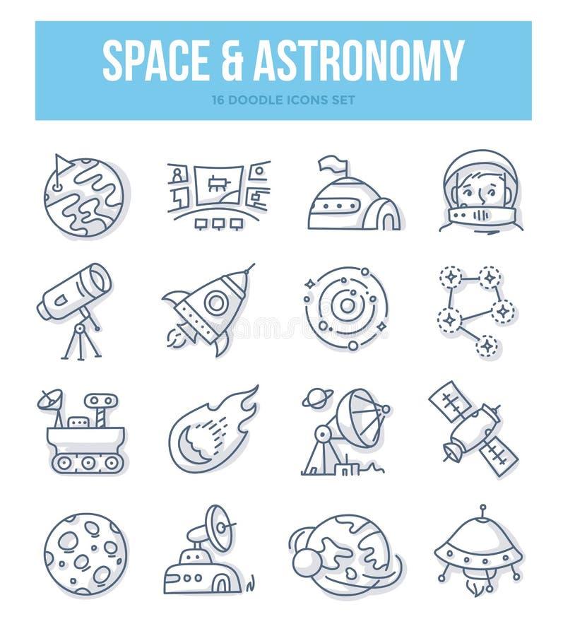 Ruimte & Astronomiekrabbelconcept vector illustratie