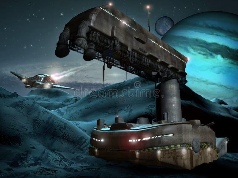 Ruimte basis op bevroren planeet vector illustratie