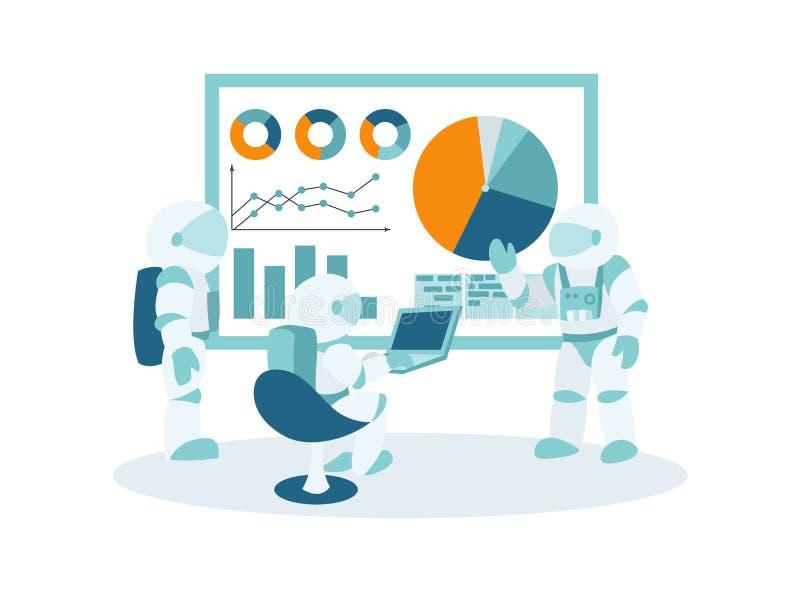 Ruimte bedrijfs, werkstroombeheer en van bureausituaties infographicsmalplaatje stock illustratie