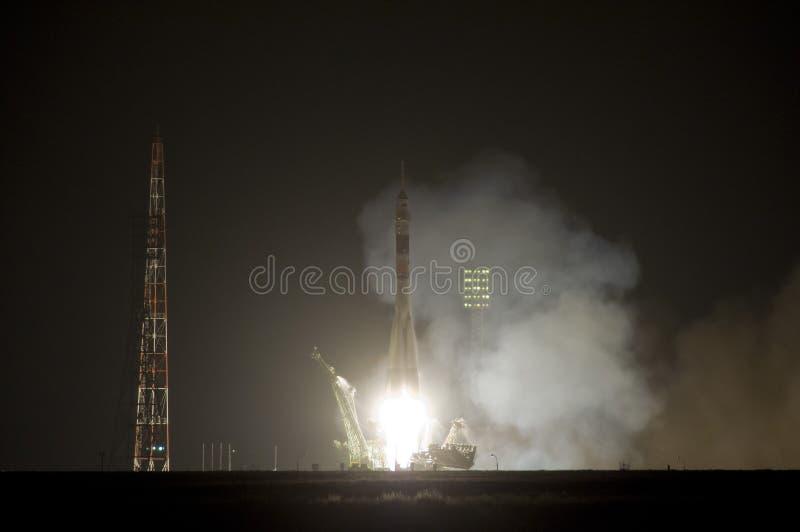 Ruimte de raketlancering van Soyuz stock foto's