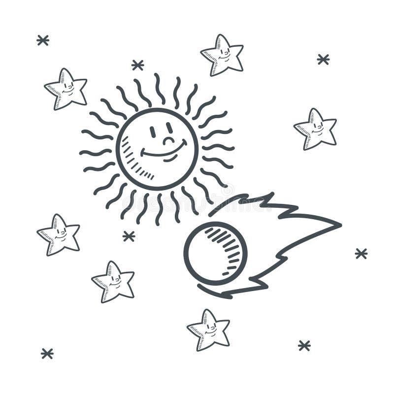 Ruimte de schetsontwerp van de sterren stervormig zon vector illustratie