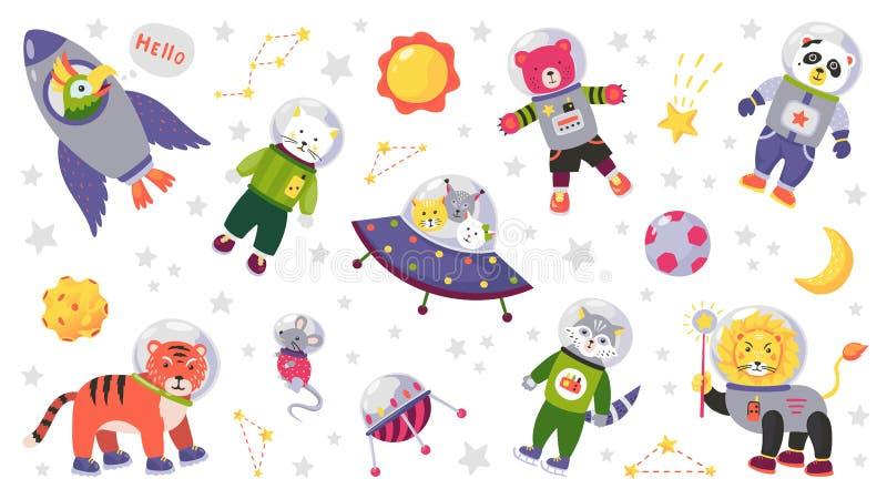 Ruimte dierlijke jonge geitjes De karakters van de beeldverhaalbaby in ruimtekostuums met raketplaneet en sterren Vector geïsolee royalty-vrije illustratie