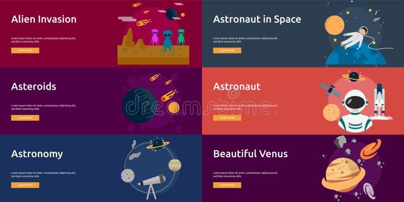 Ruimte en heelalbannerontwerp stock illustratie