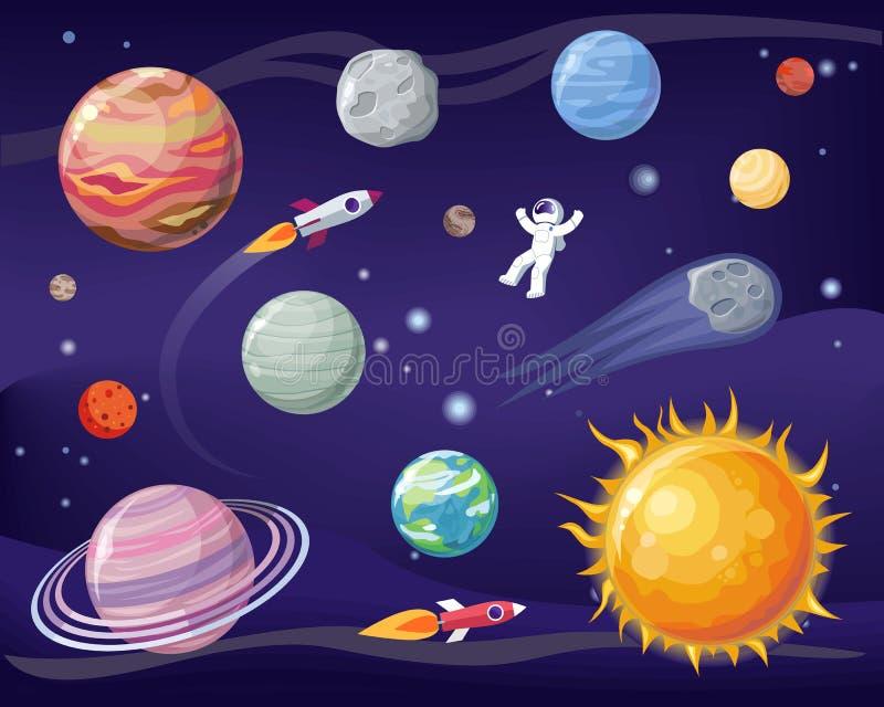 Ruimte en Planeten Geplaatst Affiche Vectorillustratie stock illustratie