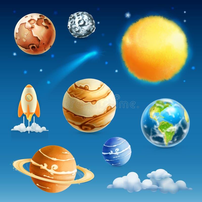 Ruimte en planetenpictogrammen stock illustratie