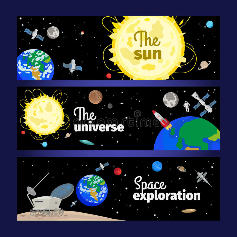 Ruimte geplaatste themabanners stock illustratie