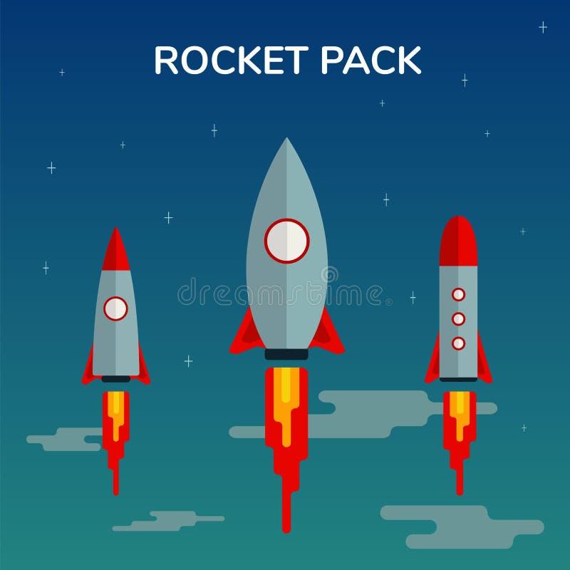 Ruimte het Symbool Nieuwe van de van Bedrijfs Rocket Start Up Pack en van de Lancering Vlakke het Ontwerppictogrammen Innovatieon royalty-vrije illustratie