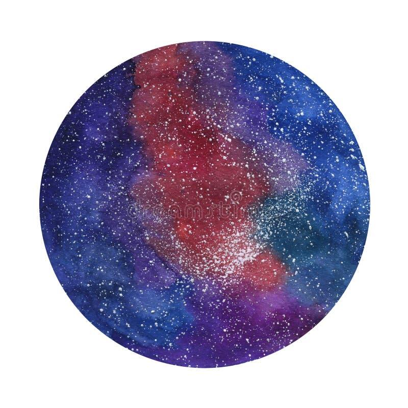 Ruimte kosmische achtergrond Kleurrijke waterverfmelkweg of nachthemel met sterren Hand getrokken kosmosillustratie met vlekken stock illustratie