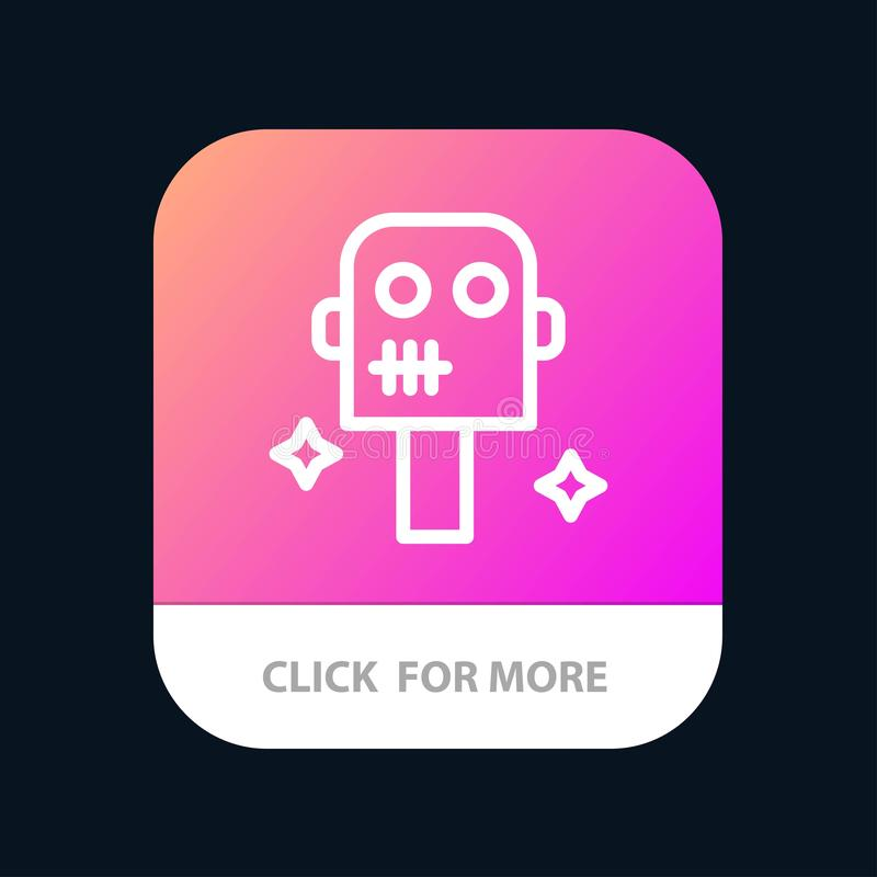 Ruimte, Kostuum, de Knoop van de Robotmobiele toepassing Android en IOS Lijnversie stock illustratie
