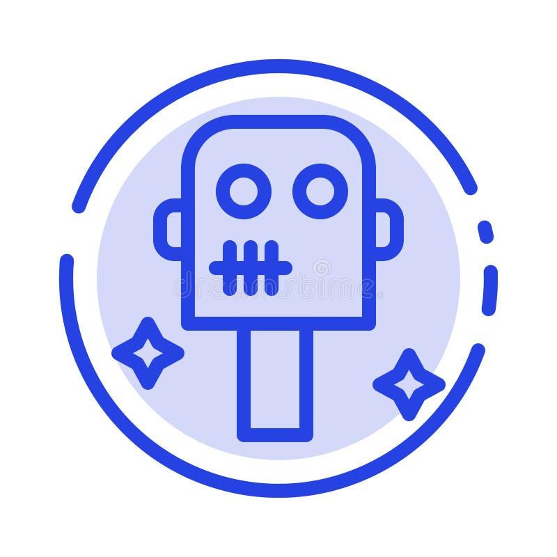 Ruimte, Kostuum, de Lijnpictogram van de Robot Blauw Gestippelde Lijn stock illustratie