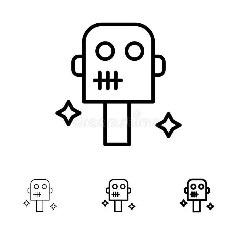 Ruimte, Kostuum, het pictogramreeks van de Robot Gewaagde en dunne zwarte lijn stock illustratie
