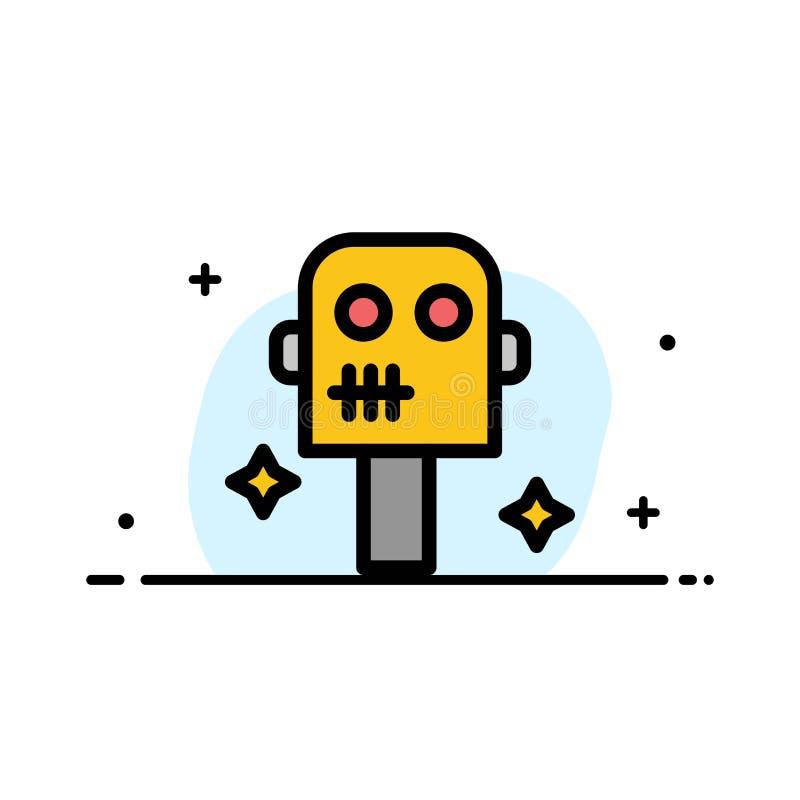 Ruimte, Kostuum, Malplaatje Robot van de Bedrijfs het Vlakke Lijn Gevulde Pictogram Vectorbanner royalty-vrije illustratie