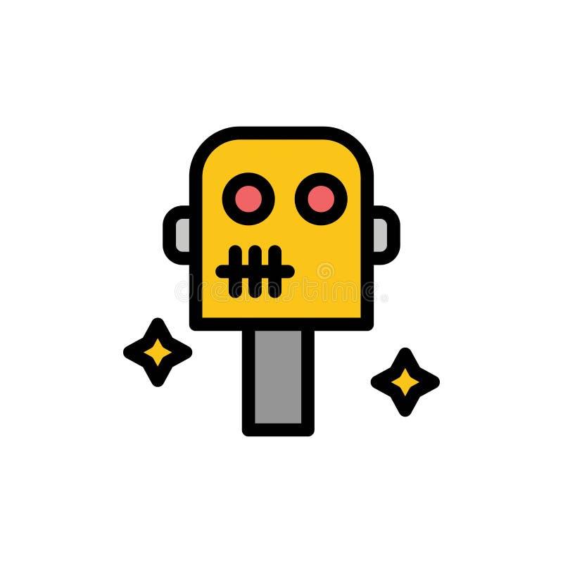 Ruimte, Kostuum, Pictogram van de Robot het Vlakke Kleur Het vectormalplaatje van de pictogrambanner stock illustratie