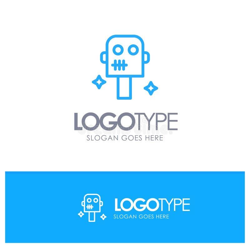 Ruimte, Kostuum, Robot Blauw Overzicht Logo Place voor Tagline stock illustratie