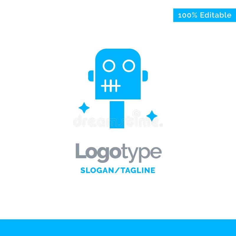 Ruimte, Kostuum, Robot Blauw Stevig Logo Template Plaats voor Tagline vector illustratie