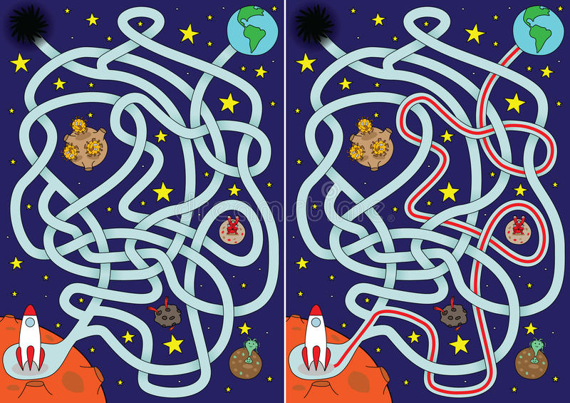 Ruimte labyrint stock illustratie