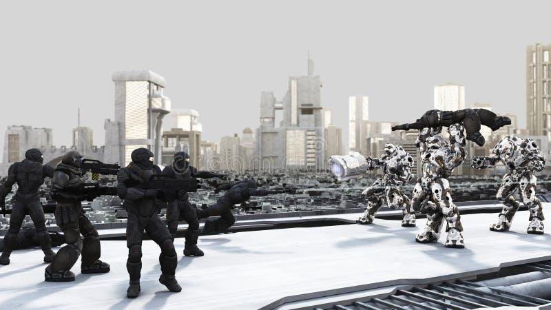 Ruimte Marine en de Slag van Droids van het Gevecht in een Futuri vector illustratie