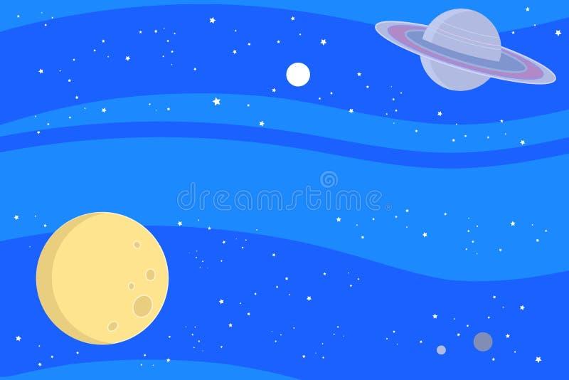 Ruimte met planeten vectorachtergrond royalty-vrije illustratie