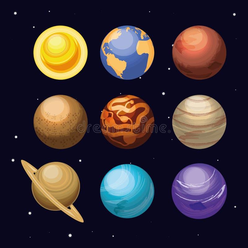 Ruimte met reeks van de scène van het planetenheelal vector illustratie