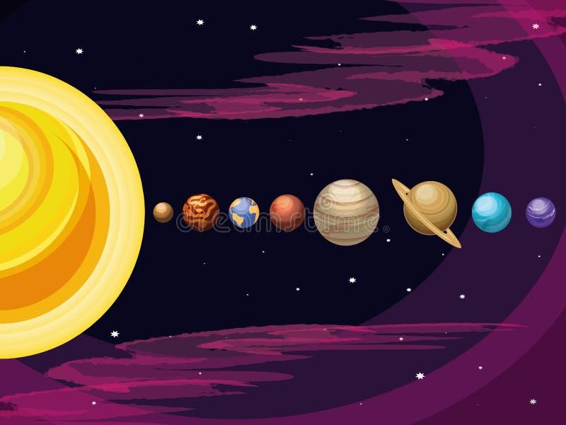 Ruimte met reeks van de scène van het planetenheelal stock illustratie