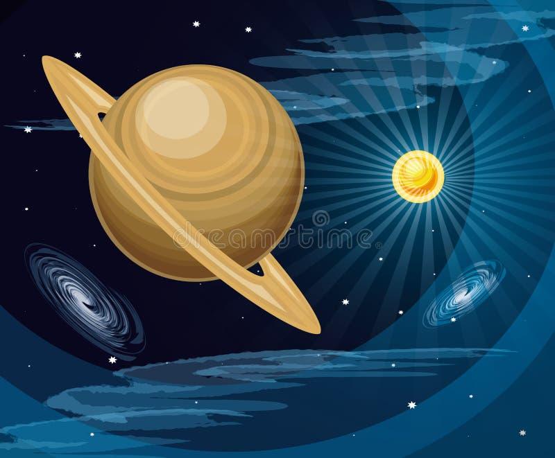 Ruimte met Saturnus-de scène van het planeetheelal royalty-vrije illustratie