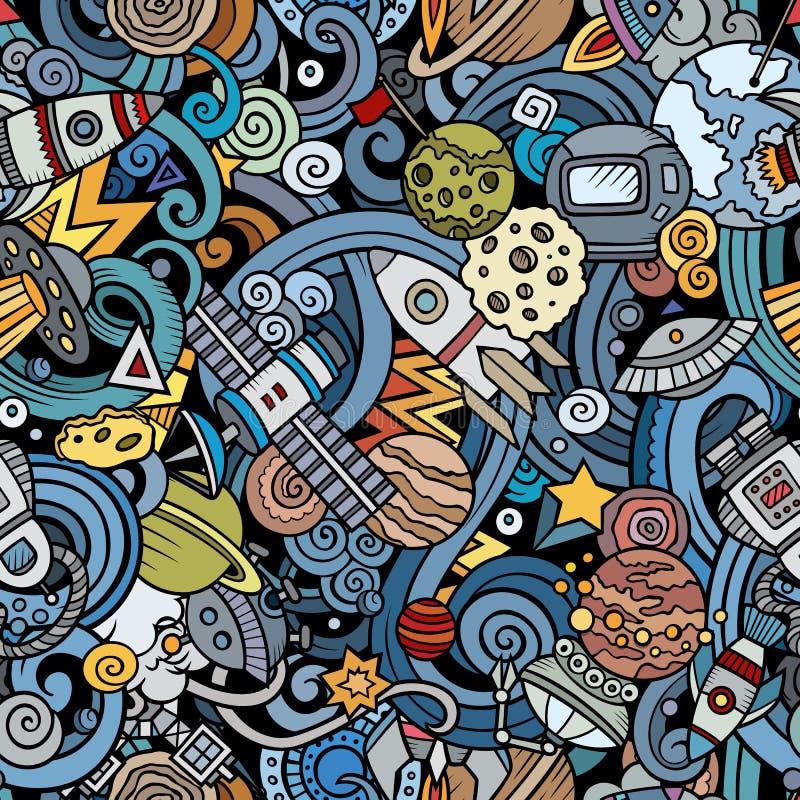 Ruimte naadloze patroon van beeldverhaal het leuke krabbels stock illustratie