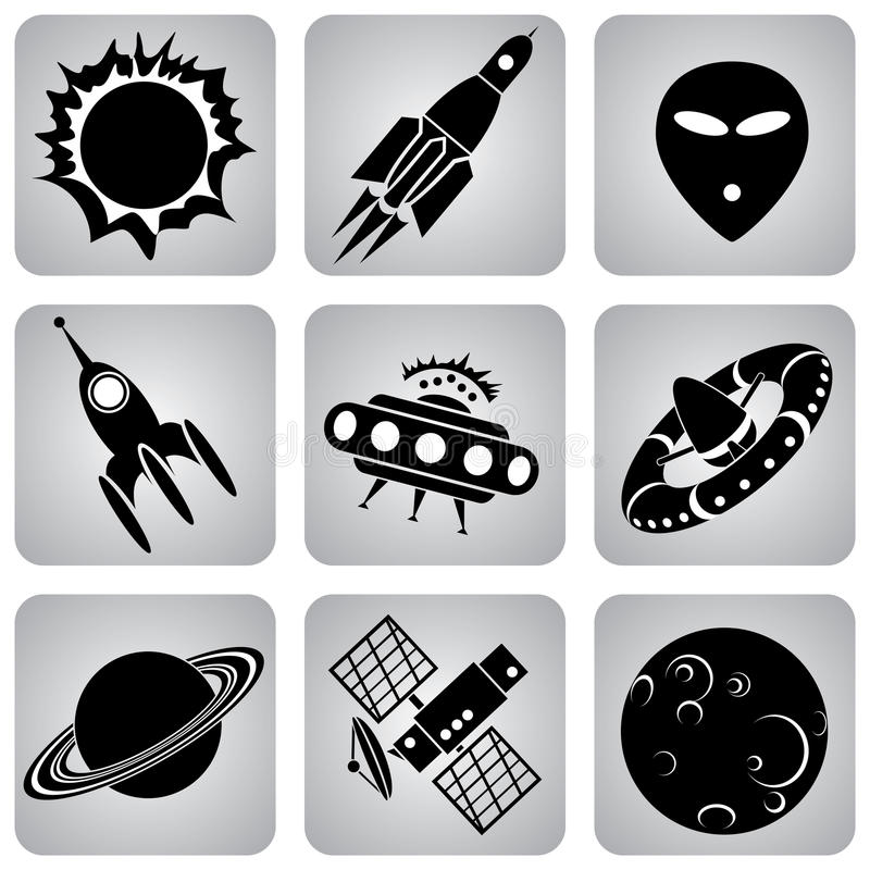 Ruimte pictogrammen royalty-vrije illustratie