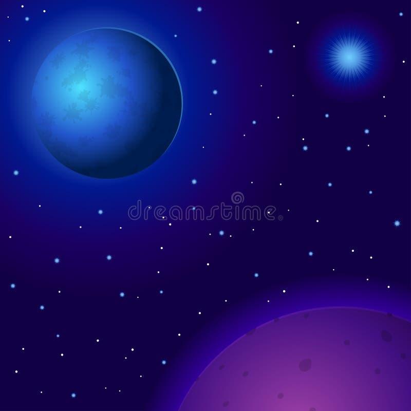 Ruimte, planeten en sterren royalty-vrije illustratie