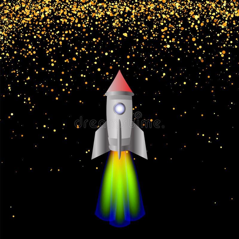 Ruimte raket Lancering Spacectaft vector illustratie