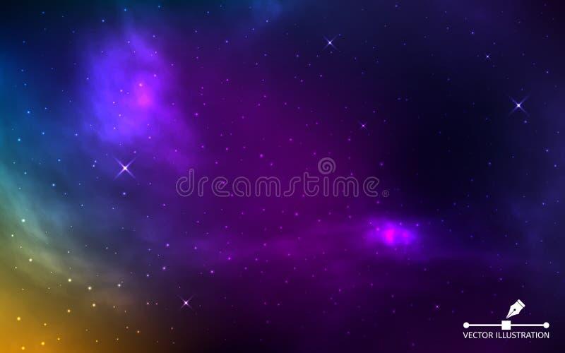 Ruimte realistische achtergrond Kleurrijke kosmos met glanzende sterren Kleur stardust en nevel Melkweg met melkachtige manier st stock illustratie