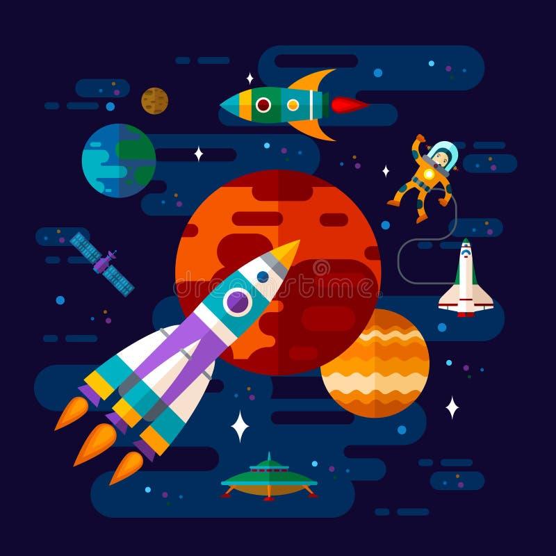 Ruimte, ruimteschip, astronaut, en planeten royalty-vrije illustratie