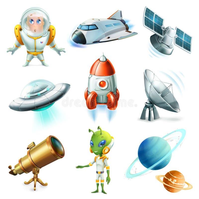 Ruimte, ruimteschip, planeet, ruimtevaarder, ufo en satelliet Drie kleurenpictogrammen op kartonmarkeringen stock illustratie