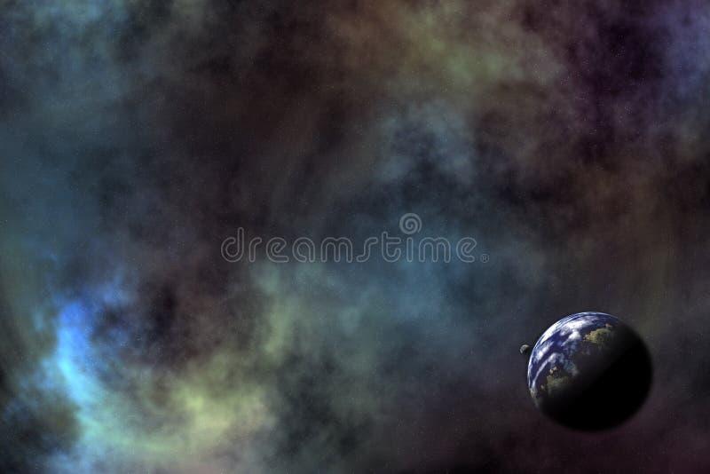 Download Ruimte scenario II stock illustratie. Afbeelding bestaande uit manen - 26058
