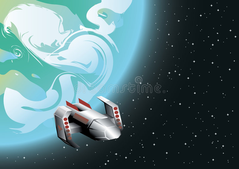 Ruimte schip in baan stock illustratie