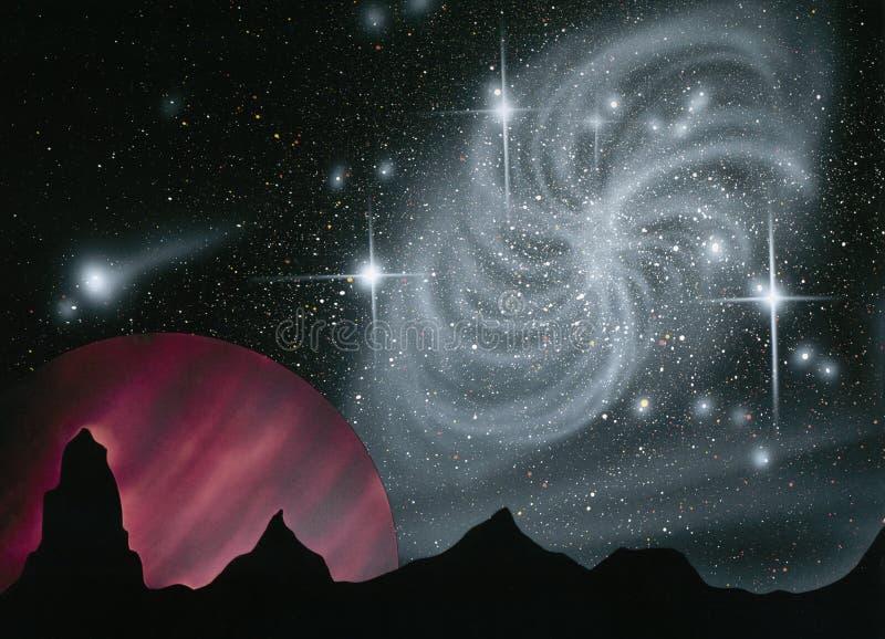 Ruimte - Spiraalvormige Melkweg royalty-vrije illustratie