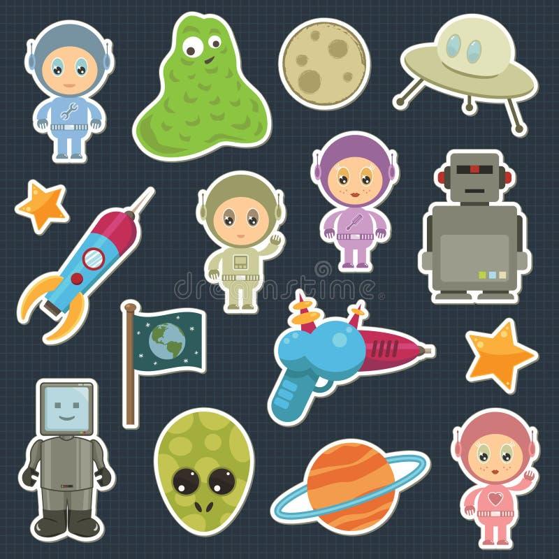 Ruimte stickers stock illustratie
