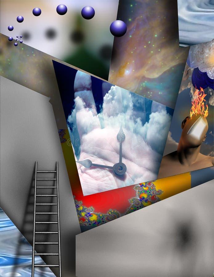 Ruimte, tijd en bestaan stock illustratie