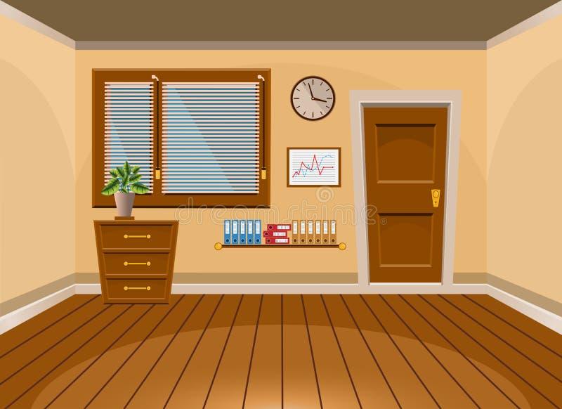 Ruimte van het beeldverhaal de vlakke vector binnenlandse bureau in beige stijl vector illustratie