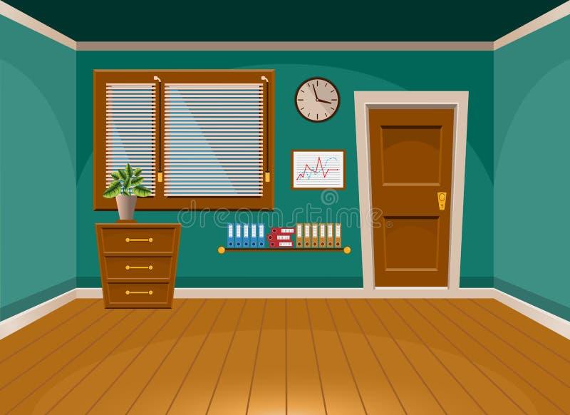 Ruimte van het beeldverhaal de vlakke vector binnenlandse bureau in turkooise stijl vector illustratie
