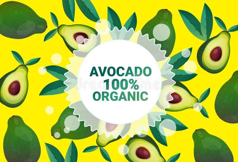 Ruimte van het de cirkelexemplaar van het avocadofruit de kleurrijke organisch over verse vruchten patroon gezond levensstijl als stock illustratie