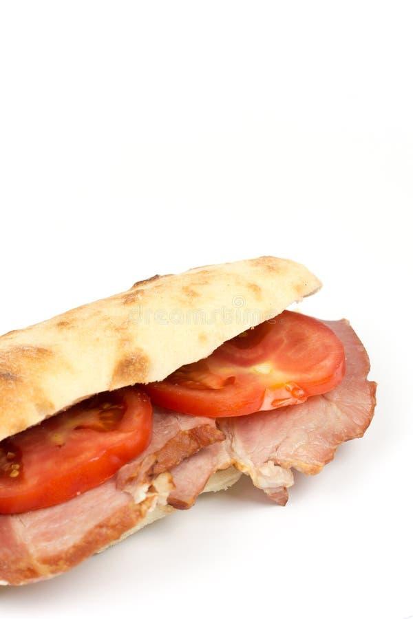 Ruimte van het de tomatenexemplaar van de sandwich somun de gerookte ham royalty-vrije stock foto