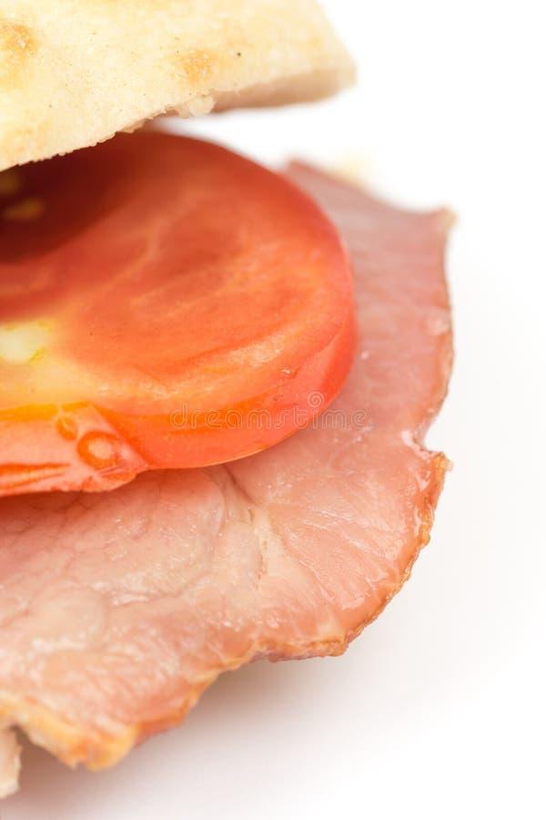 Ruimte van het de tomatenexemplaar van de sandwich somun de gerookte ham stock foto's