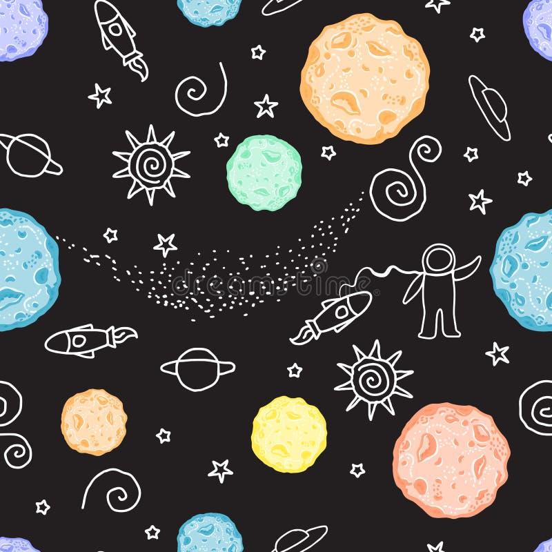 Ruimte van het krabbel de naadloze patroon Vector illustratie Planeten, UFO, raket, sterren op een zwarte achtergrond worden geïs vector illustratie