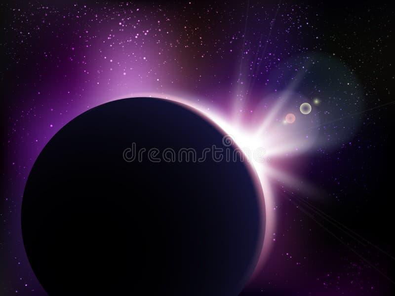 Ruimte vectorachtergrond met sterren Heelalillustratie Gekleurde kosmosachtergrond met sterren claster vector illustratie