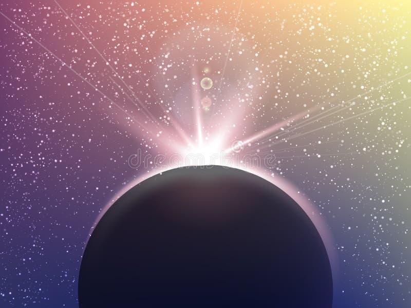 Ruimte vectorachtergrond met sterren in uitstekende stijl Heelalillustratie Gekleurde kosmosachtergrond met sterren claster vector illustratie