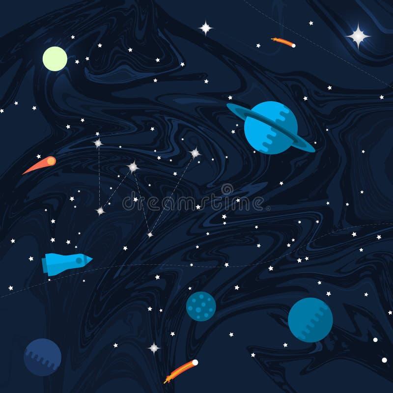 Ruimte vlakke achtergrond met planeten en sterren royalty-vrije illustratie