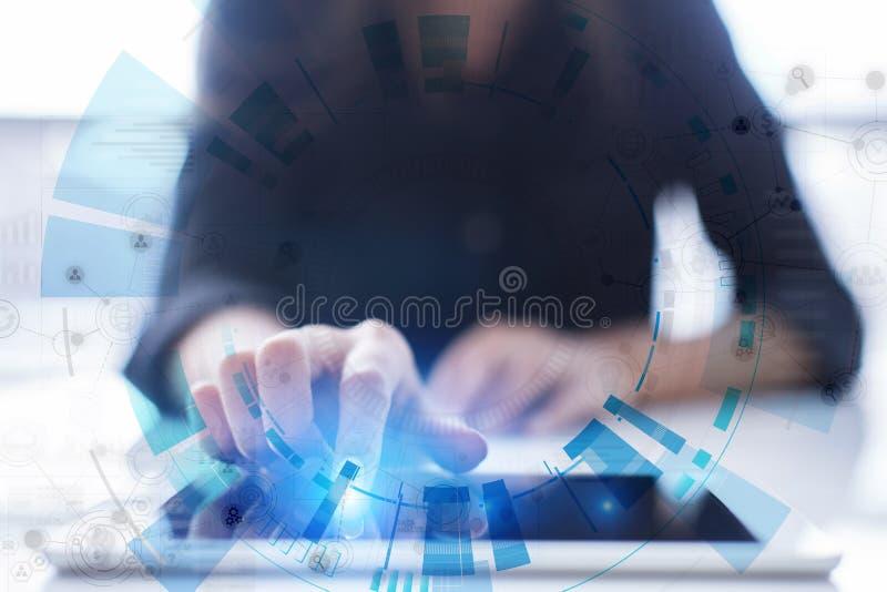Ruimte voor tekst op Abstracte achtergrond Virtuele het scherm futuristische interface Het concept van Internet van de innovatiet stock fotografie