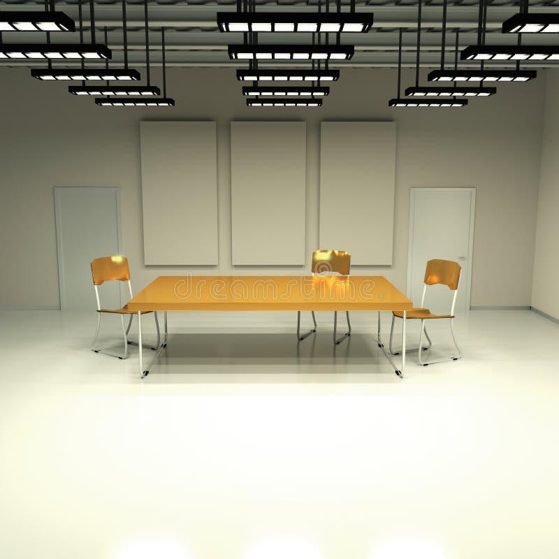 Ruimte zonder ramen met lijst en stoelen stock illustratie